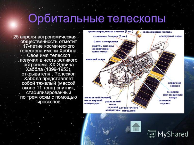 Орбитальные телескопы 25 апреля астрономическая общественность отметит 17-летие космического телескопа имени Хаббла. Свое имя телескоп получил в честь великого астронома XX Эдвина Хаббла (1899-1953), открывателя. Телескоп Хаббла представляет собой тя