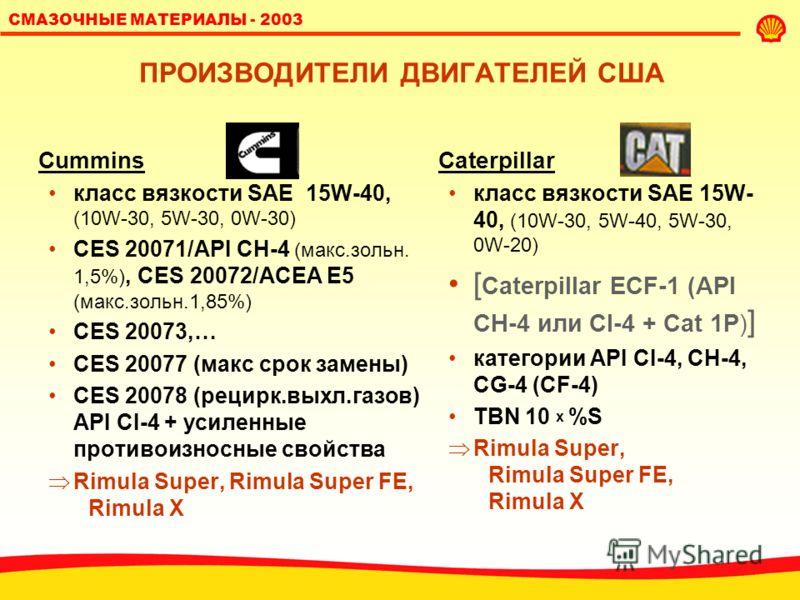 СМАЗОЧНЫЕ МАТЕРИАЛЫ - 2003 СПЕЦИФИКАЦИИ ИЗГОТОВИТЕЛЯ: ПОЧУВСТВУЙТЕ РАЗНИЦУ! Обычно требования спецификации изготовителя более жесткие либо они содержат дополнительные параметры/методы испытаний.
