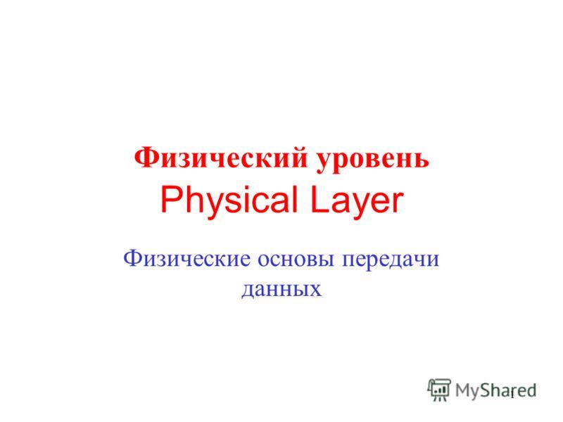 1 Физические основы передачи данных Физический уровень Physical Layer