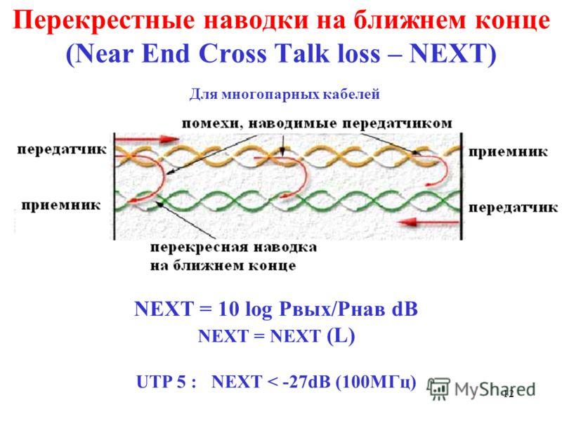 12 Перекрестные наводки на ближнем конце (Near End Cross Talk loss – NEXT) Для многопарных кабелей NEXT = 10 log Pвых/Pнав dB NEXT = NEXT (L) UTP 5 : NEXT < -27dB (100МГц)