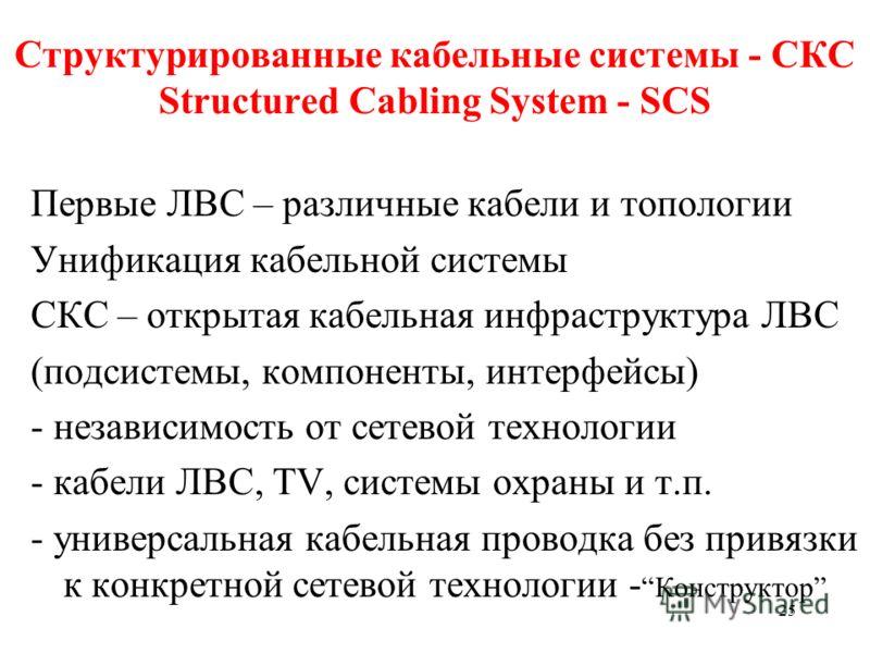 25 Структурированные кабельные системы - СКС Structured Cabling System - SCS Первые ЛВС – различные кабели и топологии Унификация кабельной системы СКС – открытая кабельная инфраструктура ЛВС (подсистемы, компоненты, интерфейсы) - независимость от се