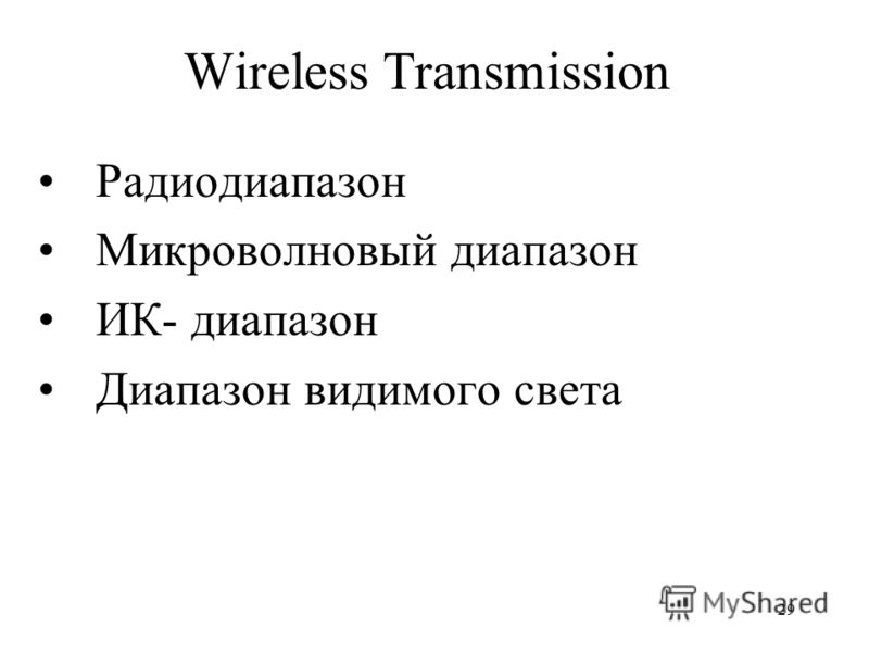 29 Wireless Transmission Радиодиапазон Микроволновый диапазон ИК- диапазон Диапазон видимого света