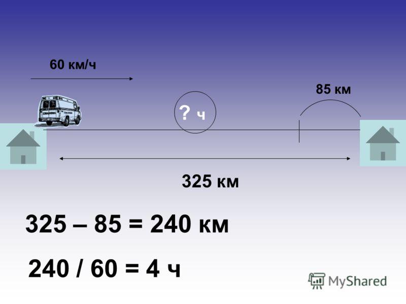 325 км 60 км/ч 85 км ? ч 325 – 85 = 240 км 240 / 60 = 4 ч