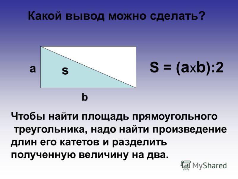 Какой вывод можно сделать? a b s S = (aхb):2S = (aхb):2 Чтобы найти площадь прямоугольного треугольника, надо найти произведение длин его катетов и разделить полученную величину на два.