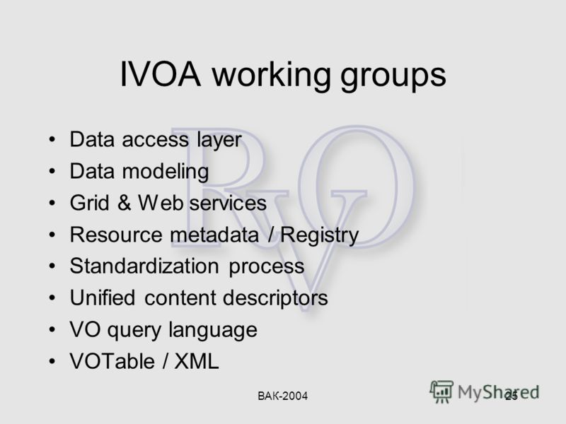 ВАК-200425 IVOA working groups Data access layer Data modeling Grid & Web services Resource metadata / Registry Standardization process Unified content descriptors VO query language VOTable / XML