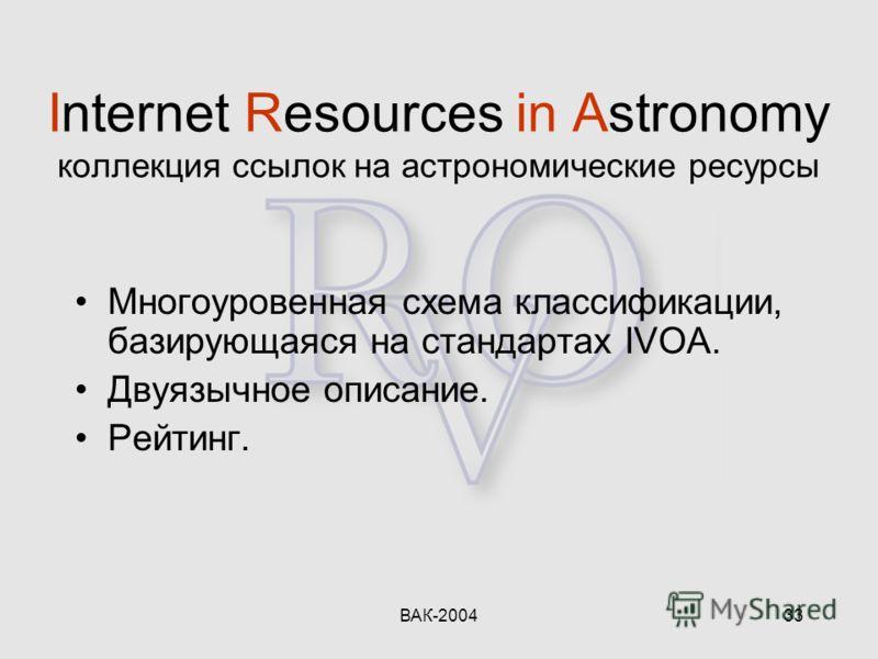 ВАК-200433 Internet Resources in Astronomy коллекция ссылок на астрономические ресурсы Многоуровенная схема классификации, базирующаяся на стандартах IVOA. Двуязычное описание. Рейтинг.