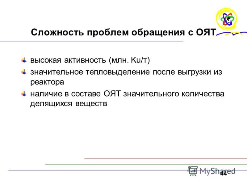 44 Сложность проблем обращения с ОЯТ высокая активность (млн. Ku/т) значительное тепловыделение после выгрузки из реактора наличие в составе ОЯТ значительного количества делящихся веществ