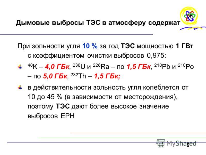 5 Дымовые выбросы ТЭС в атмосферу содержат При зольности угля 10 % за год ТЭС мощностью 1 ГВт с коэффициентом очистки выбросов 0,975: 40 K – 4,0 ГБк, 238 U и 226 Ra – по 1,5 ГБк, 210 Pb и 210 Pо – по 5,0 ГБк, 232 Th – 1,5 ГБк; в действительности золь