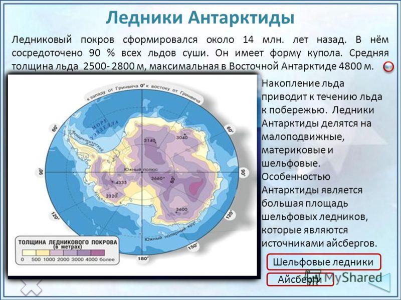 Накопление льда приводит к течению льда к побережью. Ледники Антарктиды делятся на малоподвижные, материковые и шельфовые. Особенностью Антарктиды является большая площадь шельфовых ледников, которые являются источниками айсбергов. Ледниковый покров