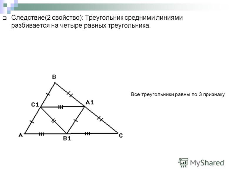 Следствие(2 свойство): Треугольник средними линиями разбивается на четыре равных треугольника. Все треугольники равны по 3 признаку