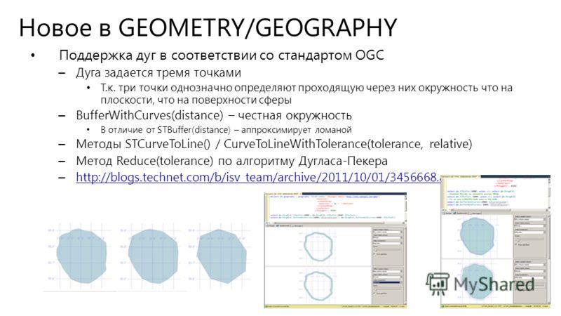 Новое в GEOMETRY/GEOGRAPHY Поддержка дуг в соответствии со стандартом OGC – Дуга задается тремя точками Т.к. три точки однозначно определяют проходящую через них окружность что на плоскости, что на поверхности сферы – BufferWithCurves(distance) – чес