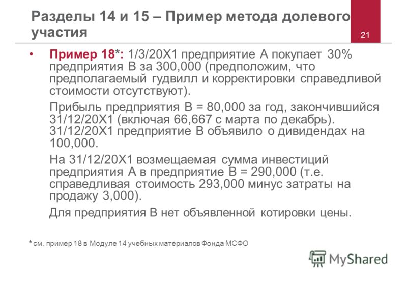 Разделы 14 и 15 – Пример метода долевого участия Пример 18*: 1/3/20X1 предприятие A покупает 30% предприятия B за 300,000 (предположим, что предполагаемый гудвилл и корректировки справедливой стоимости отсутствуют). Прибыль предприятия B = 80,000 за