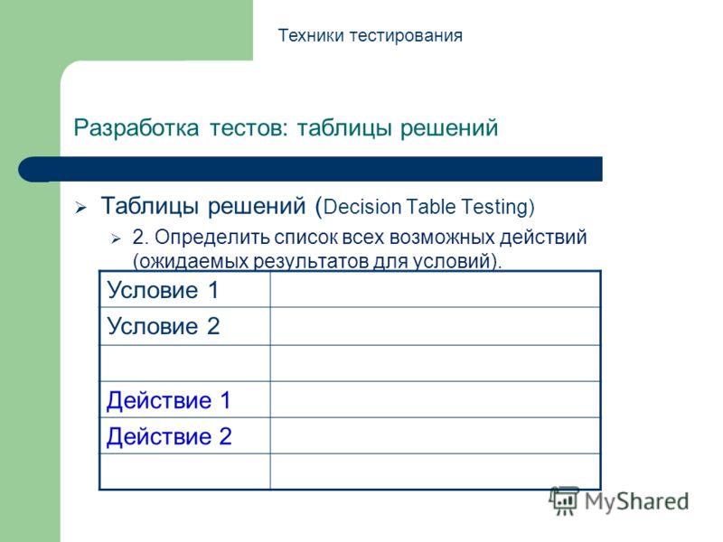 Разработка тестов: таблицы решений Таблицы решений ( Decision Table Testing) 2. Определить список всех возможных действий (ожидаемых результатов для условий). Техники тестирования Условие 1 Условие 2 Действие 1 Действие 2