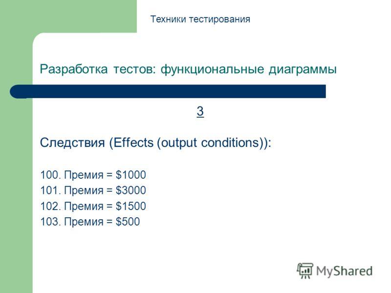 Разработка тестов: функциональные диаграммы 3 Следствия (Effects (output conditions)): 100. Премия = $1000 101. Премия = $3000 102. Премия = $1500 103. Премия = $500 Техники тестирования