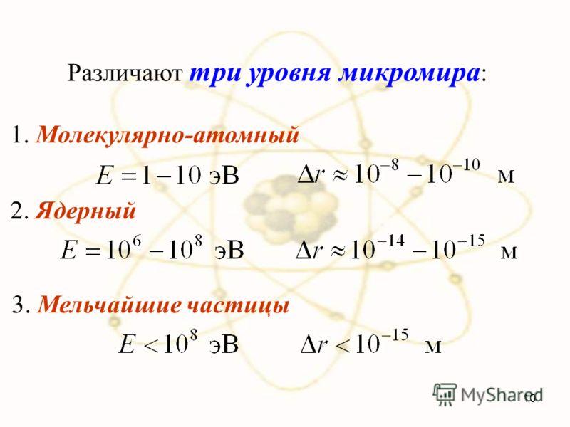 Различают три уровня микромира : 1. Молекулярно-атомный 2. Ядерный 3. Мельчайшие частицы 10