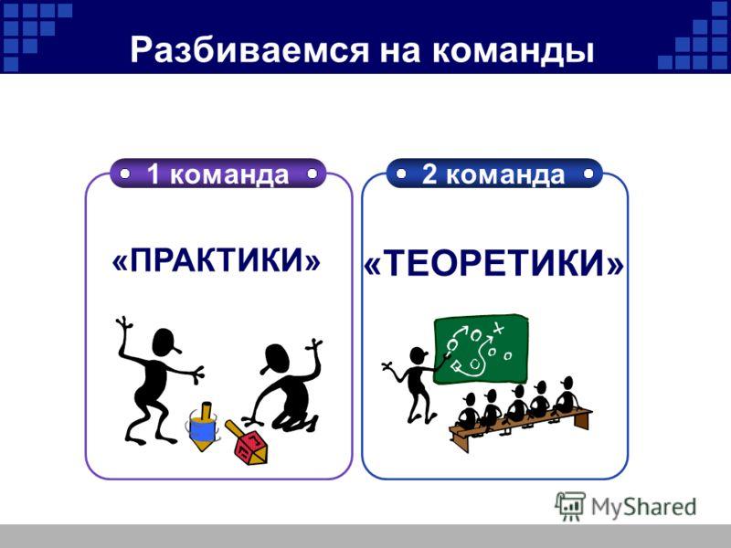 Company Logo Разбиваемся на команды 1 команда2 команда «ПРАКТИКИ» «ТЕОРЕТИКИ»