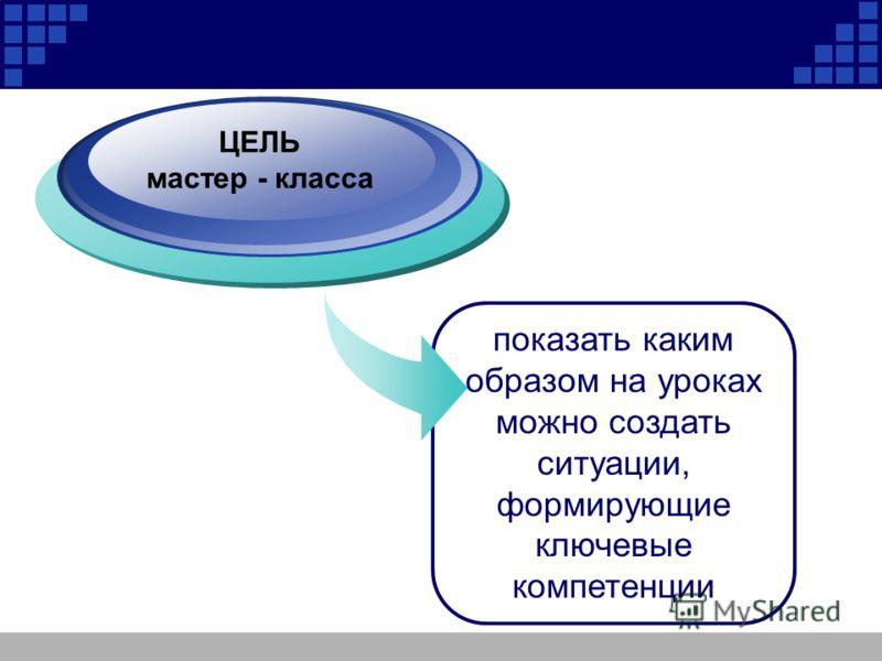 Company Logo ЦЕЛЬ мастер - класса показать каким образом на уроках можно создать ситуации, формирующие ключевые компетенции