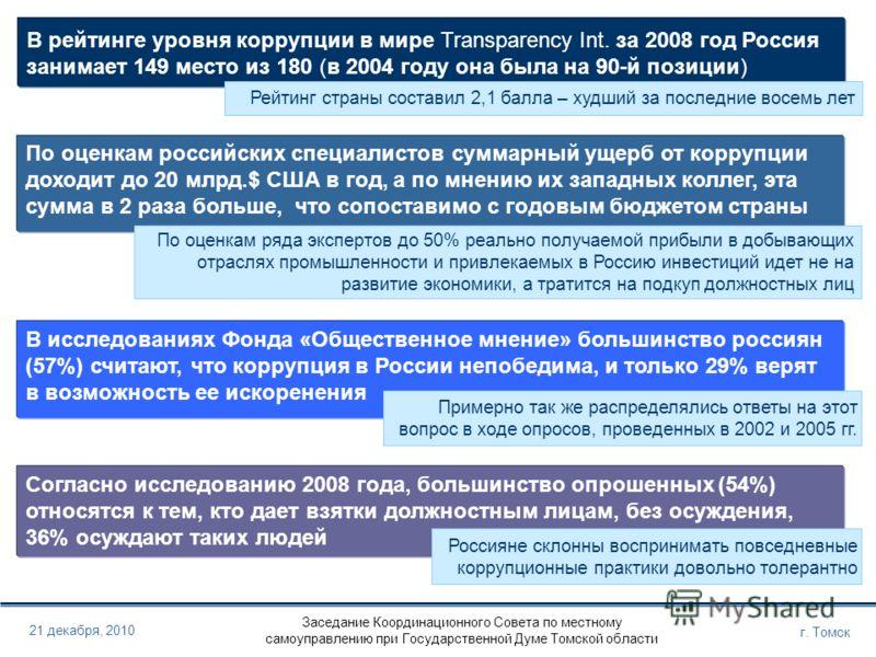 Заседание Координационного Совета по местному самоуправлению при Государственной Думе Томской области г. Томск 21 декабря, 2010 В рейтинге уровня коррупции в мире Transparency Int. за 2008 год Россия занимает 149 место из 180 (в 2004 году она была на