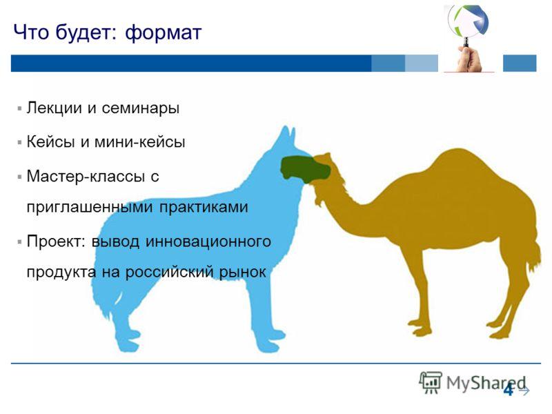4 Что будет: формат Лекции и семинары Кейсы и мини-кейсы Мастер-классы с приглашенными практиками Проект: вывод инновационного продукта на российский рынок