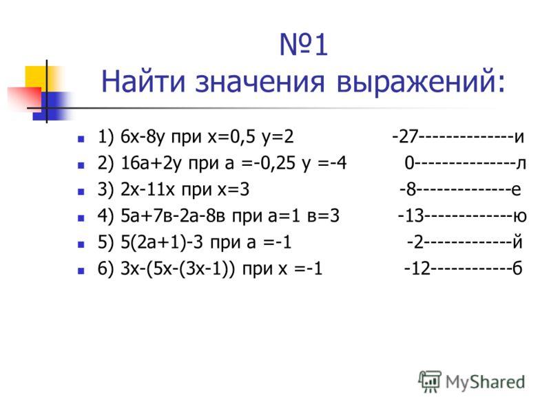 1 Найти значения выражений: 1) 6х-8у при х=0,5 у=2 -27--------------и 2) 16а+2у при а =-0,25 у =-4 0---------------л 3) 2х-11х при х=3 -8--------------е 4) 5а+7в-2а-8в при а=1 в=3 -13-------------ю 5) 5(2а+1)-3 при а =-1 -2-------------й 6) 3х-(5х-(3