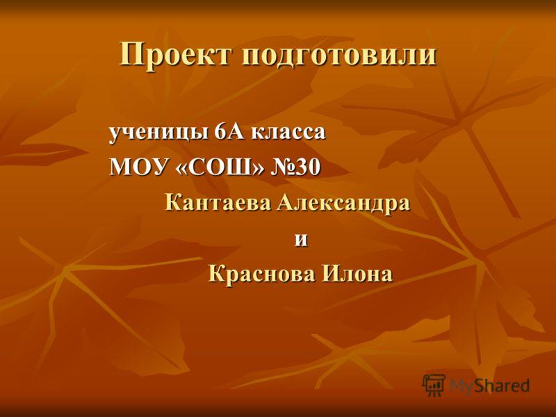 Проект подготовили ученицы 6А класса МОУ «СОШ» 30 Кантаева Александра и Краснова Илона Краснова Илона
