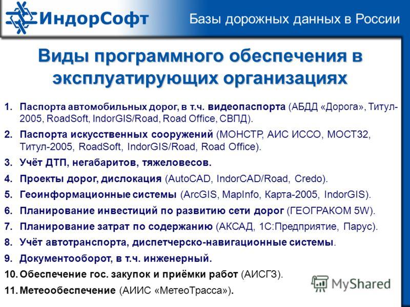 Базы дорожных данных в России Виды программного обеспечения в эксплуатирующих организациях 1.Паспорта автомобильных дорог, в т.ч. видеопаспорта (АБДД «Дорога», Титул- 2005, RoadSoft, IndorGIS/Road, Road Office, СВПД). 2.Паспорта искусственных сооруже