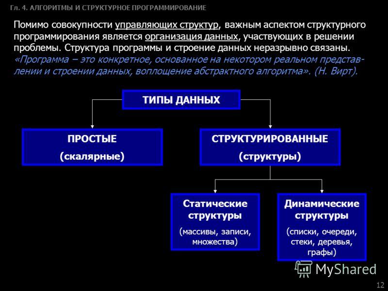 12 Гл. 4. АЛГОРИТМЫ И СТРУКТУРНОЕ ПРОГРАММИРОВАНИЕ Помимо совокупности управляющих структур, важным аспектом структурного программирования является организация данных, участвующих в решении проблемы. Структура программы и строение данных неразрывно с