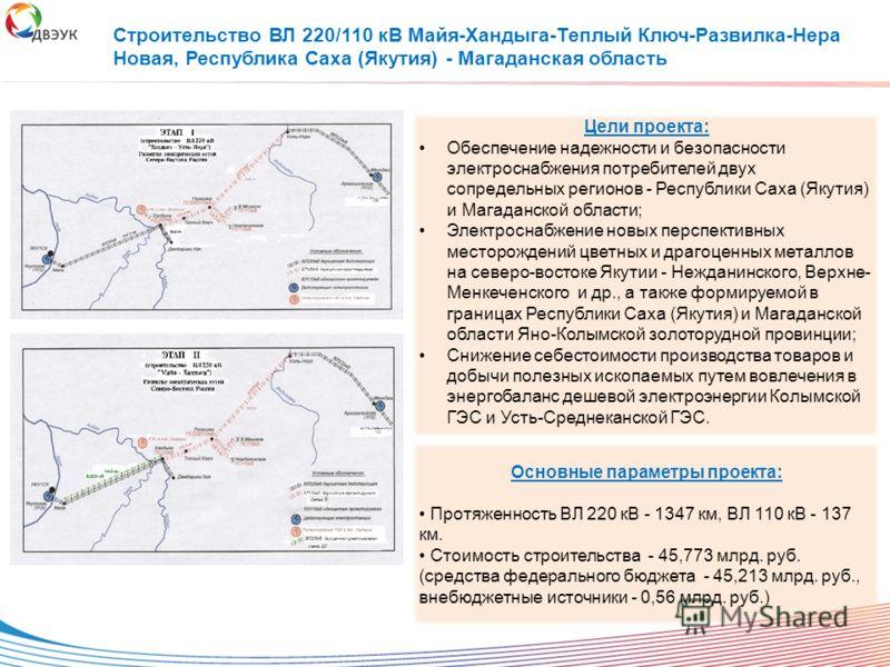 Цели проекта: Обеспечение надежности и безопасности электроснабжения потребителей двух сопредельных регионов - Республики Саха (Якутия) и Магаданской области; Электроснабжение новых перспективных месторождений цветных и драгоценных металлов на северо