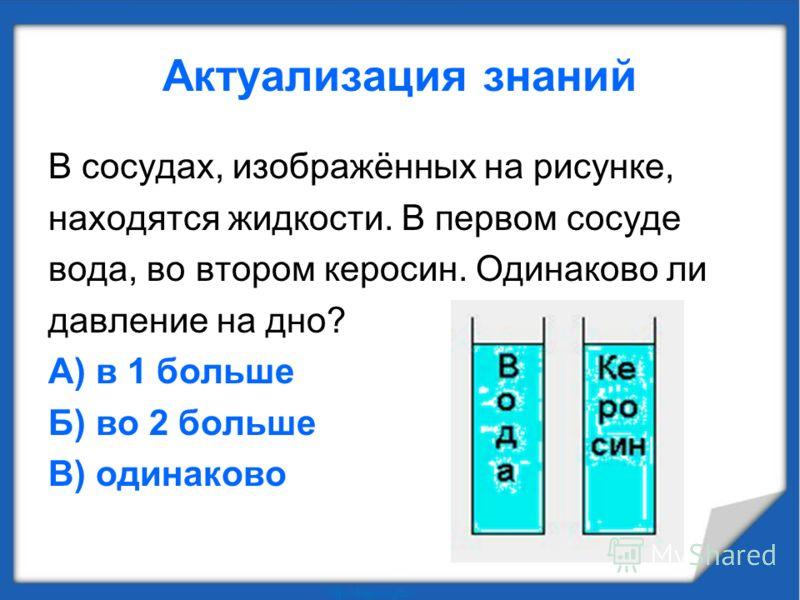 Актуализация знаний В сосудах, изображённых на рисунке, находятся жидкости. В первом сосуде вода, во втором керосин. Одинаково ли давление на дно? А) в 1 больше Б) во 2 больше В) одинаково