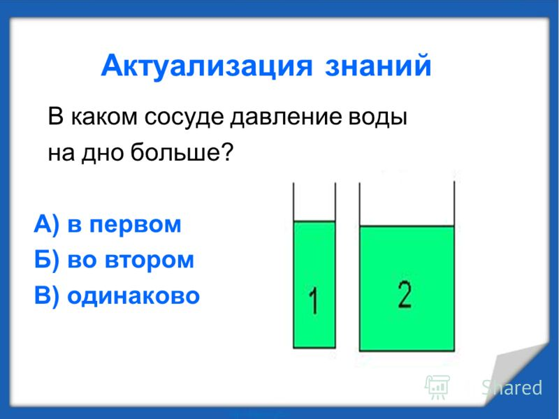 В каком сосуде давление воды на дно больше? А) в первом Б) во втором В) одинаково
