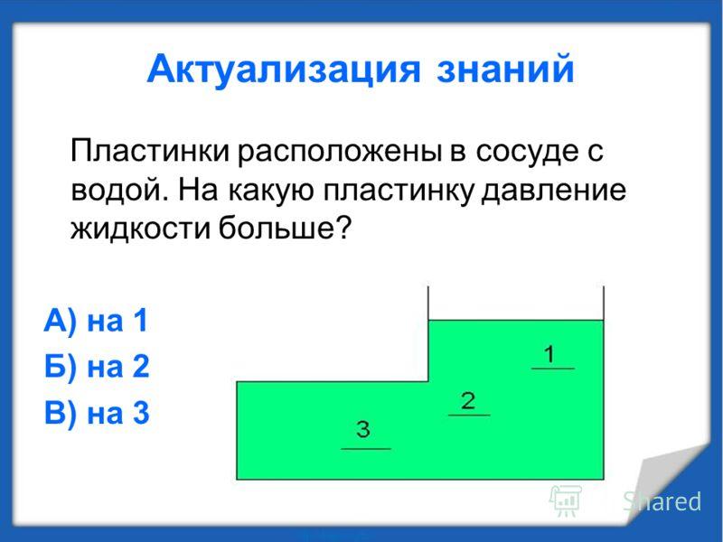 Пластинки расположены в сосуде с водой. На какую пластинку давление жидкости больше? А) на 1 Б) на 2 В) на 3