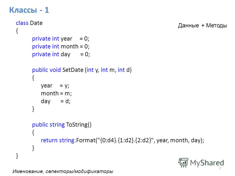 class Date { private int year = 0; private int month = 0; private int day = 0; public void SetDate (int y, int m, int d) { year = y; month = m; day = d; } public string ToString() { return string.Format(