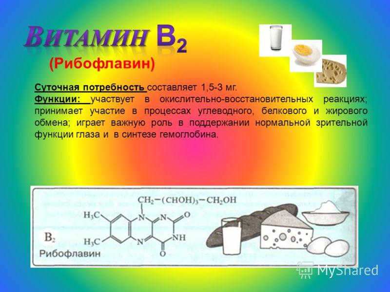 (Рибофлавин) Суточная потребность составляет 1,5-3 мг. Функции: участвует в окислительно-восстановительных реакциях; принимает участие в процессах углеводного, белкового и жирового обмена; играет важную роль в поддержании нормальной зрительной функци