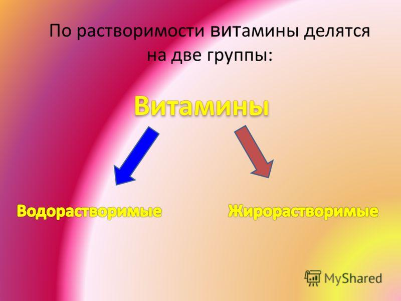 По растворимости вит амины делятся на две группы: