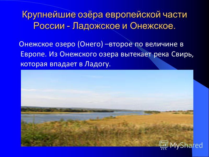 Крупнейшие озёра европейской части России - Ладожское и Онежское. Онежское озеро (Онего) –второе по величине в Европе. Из Онежского озера вытекает река Свирь, которая впадает в Ладогу.