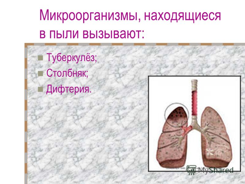 Микроорганизмы, находящиеся в пыли вызывают: Туберкулёз; Столбняк; Дифтерия.