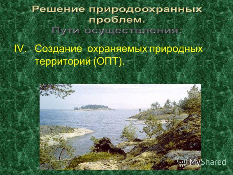 IV.Создание охраняемых природных территорий (ОПТ).