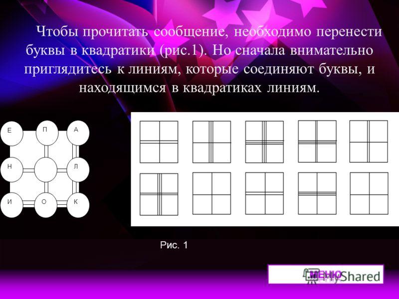 Е ПА Л И Н ОК Чтобы прочитать сообщение, необходимо перенести буквы в квадратики (рис.1). Но сначала внимательно приглядитесь к линиям, которые соединяют буквы, и находящимся в квадратиках линиям. Рис. 1