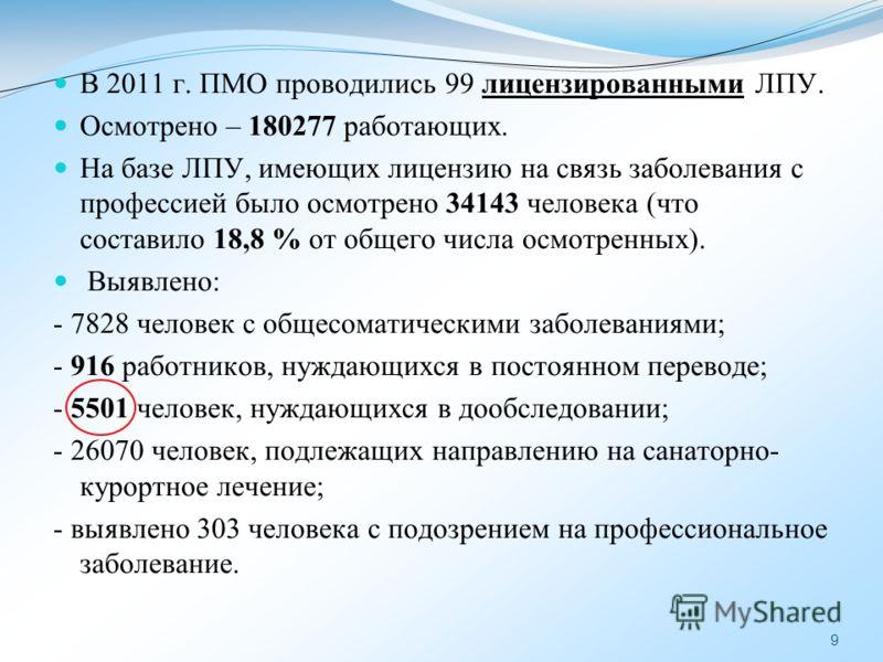 9 В 2011 г. ПМО проводились 99 лицензированными ЛПУ. Осмотрено – 180277 работающих. На базе ЛПУ, имеющих лицензию на связь заболевания с профессией было осмотрено 34143 человека (что составило 18,8 % от общего числа осмотренных). Выявлено: - 7828 чел