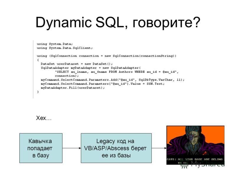 Dynamic SQL, говорите? Хех… Кавычка попадает в базу Legacy код на VB/ASP/Abscess берет ее из базы