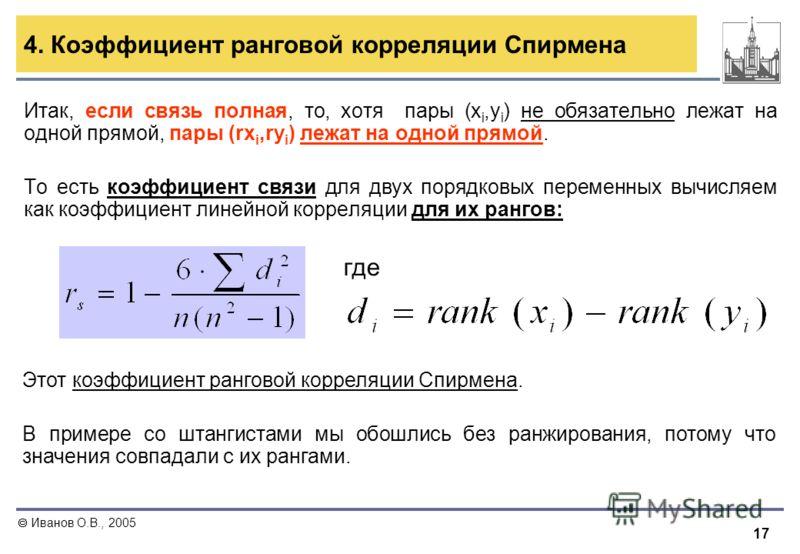 17 Иванов О.В., 2005 4. Коэффициент ранговой корреляции Спирмена Итак, если связь полная, то, хотя пары (x i,y i ) не обязательно лежат на одной прямой, пары (rx i,ry i ) лежат на одной прямой. То есть коэффициент связи для двух порядковых переменных