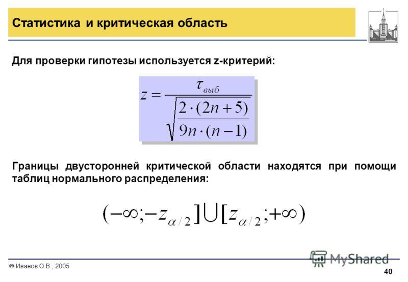 40 Иванов О.В., 2005 Для проверки гипотезы используется z-критерий: Границы двусторонней критической области находятся при помощи таблиц нормального распределения: Статистика и критическая область
