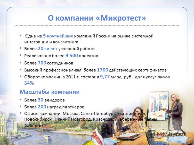 О компании «Микротест» Одна из 5 крупнейших компаний России на рынке системной интеграции и консалтинга Более 20 -ти лет успешной работы Реализовано более 9 500 проектов Более 700 сотрудников Высокий профессионализм: более 1700 действующих сертификат