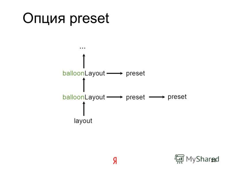 Опция preset Представляет собой объект вида {имя опции: значение} Может задаваться как объектом, так и ключом в хранилище option.presetStorage Хэш также может содержать preset 27