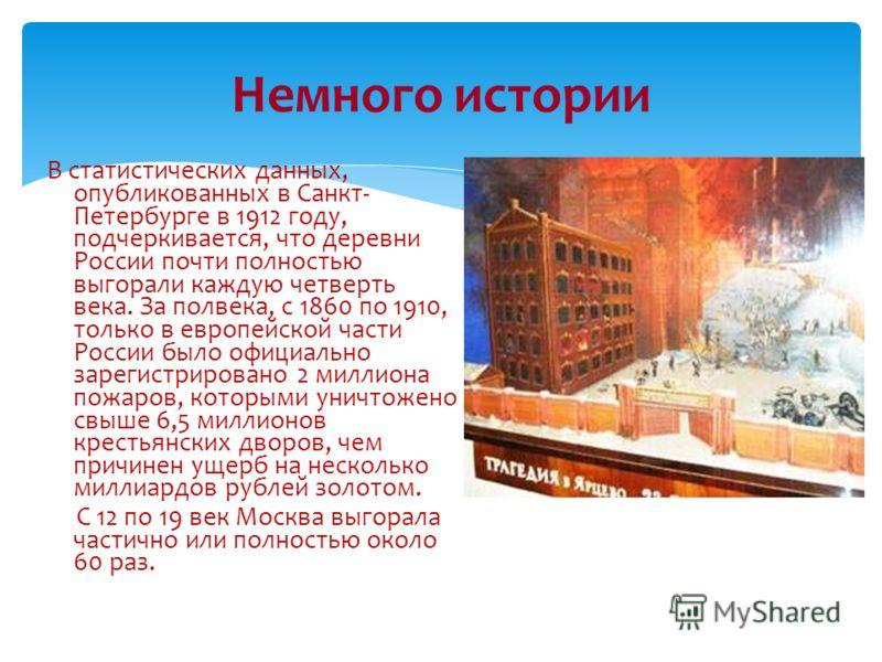В статистических данных, опубликованных в Санкт- Петербурге в 1912 году, подчеркивается, что деревни России почти полностью выгорали каждую четверть века. За полвека, с 1860 по 1910, только в европейской части России было официально зарегистрировано