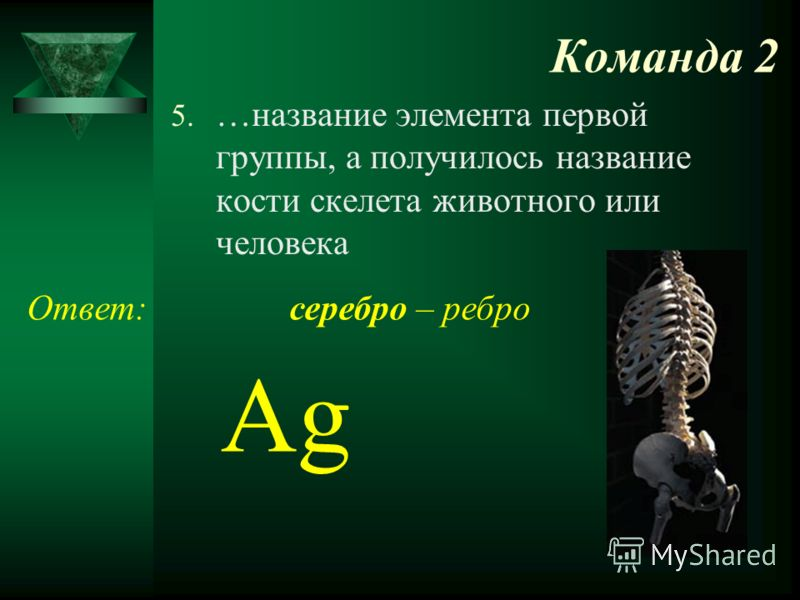 Команда 2 5. …название элемента первой группы, а получилось название кости скелета животного или человека Ответ: Ag серебро – ребро