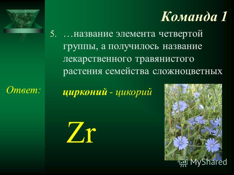 Команда 1 5. …название элемента четвертой группы, а получилось название лекарственного травянистого растения семейства сложноцветных Ответ: Zr цирконий - цикорий