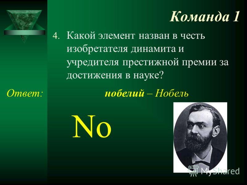 Команда 1 4. Какой элемент назван в честь изобретателя динамита и учредителя престижной премии за достижения в науке? Ответ: No нобелий – Нобель