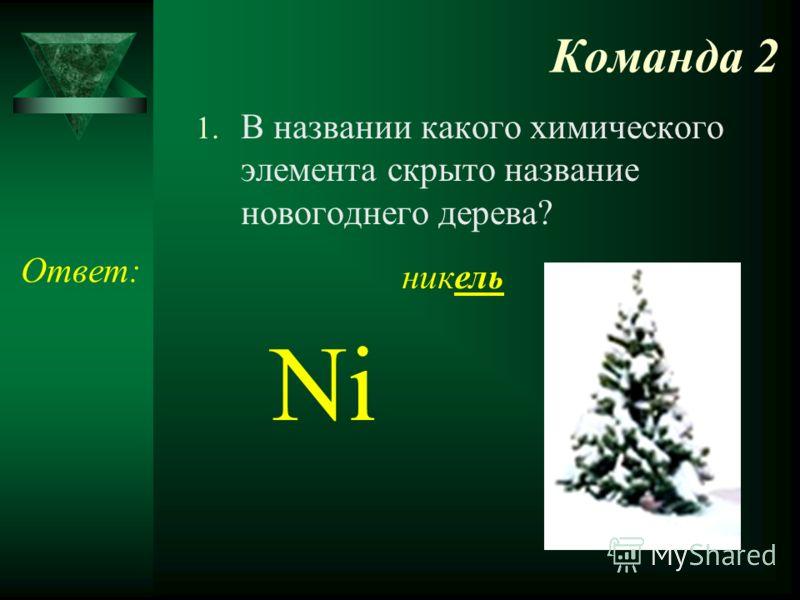 Команда 2 1. В названии какого химического элемента скрыто название новогоднего дерева? Ответ: никель Ni