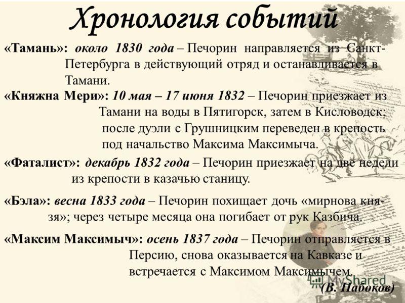Хронология событий «Тамань»: около 1830 года – Печорин направляется из Санкт- Петербурга в действующий отряд и останавливается в Тамани. «Княжна Мери»
